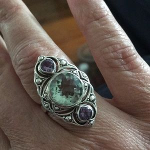 Silver Aquamarine and Amy ring size 8